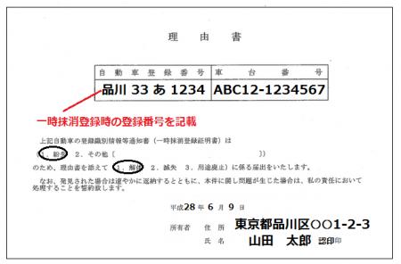 登録事項紛失理由書の記載例
