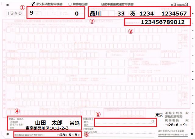 永久抹消登録記載例(還付無)