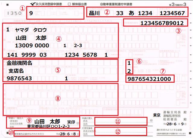 永久抹消登録記載例(還付有り)