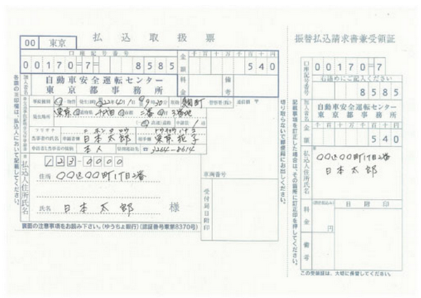 郵便振替申請の記載例