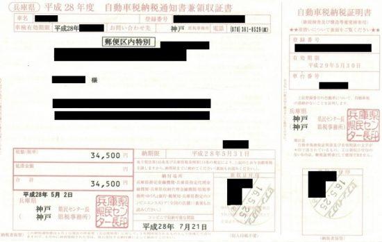 自動車税の納付書
