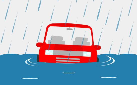 水没している車