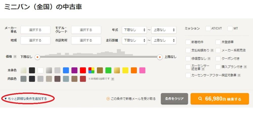 カーセンサーのミニバン選択画面