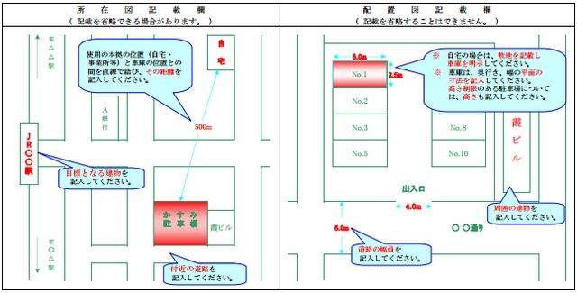 保管場所の所在図と配置図