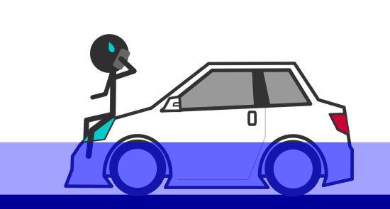 冠水している車