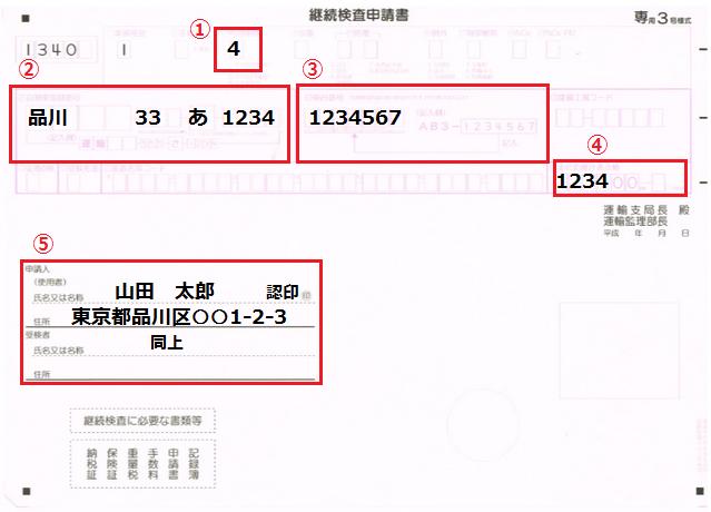 ユーザー車検の申請書の書き方