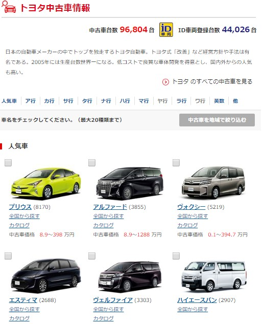 グーネットの車種選択画面