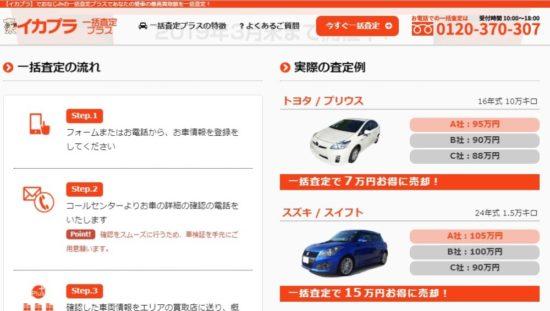 電話ナシの車一括査定サイト(イカプラ)