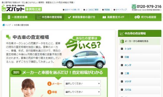 車一括査定なし・個人情報なしの相場サイト(ズバット)