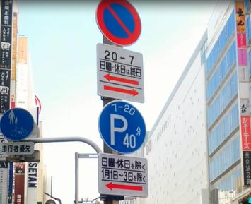 パーキングメーターと駐車禁止の標識