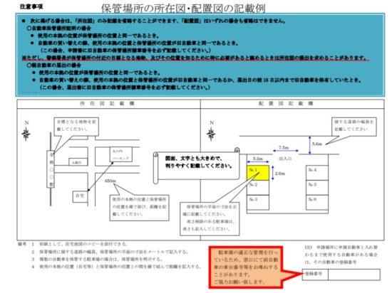 保管場所の所在図・配置図の記載例