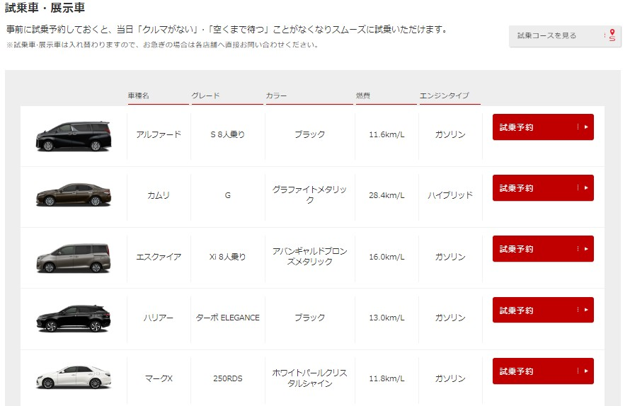 トヨタ文京店試乗車予約ページ