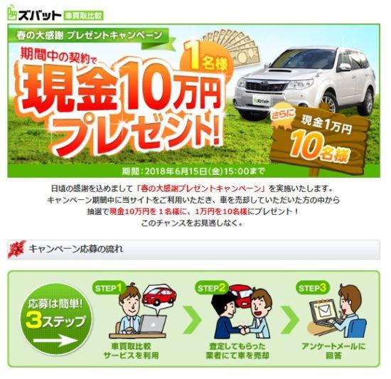 ズバット車買取のキャンペーン